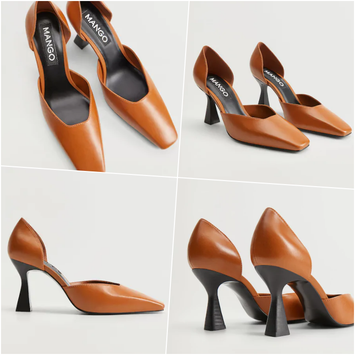 orange high-heeled shoes