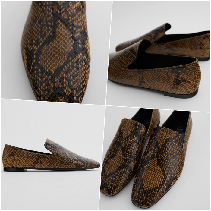 coffee with black snake print floor flats
