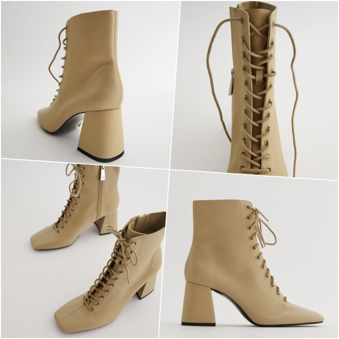 beige wide-heeled lace-up ankle boots