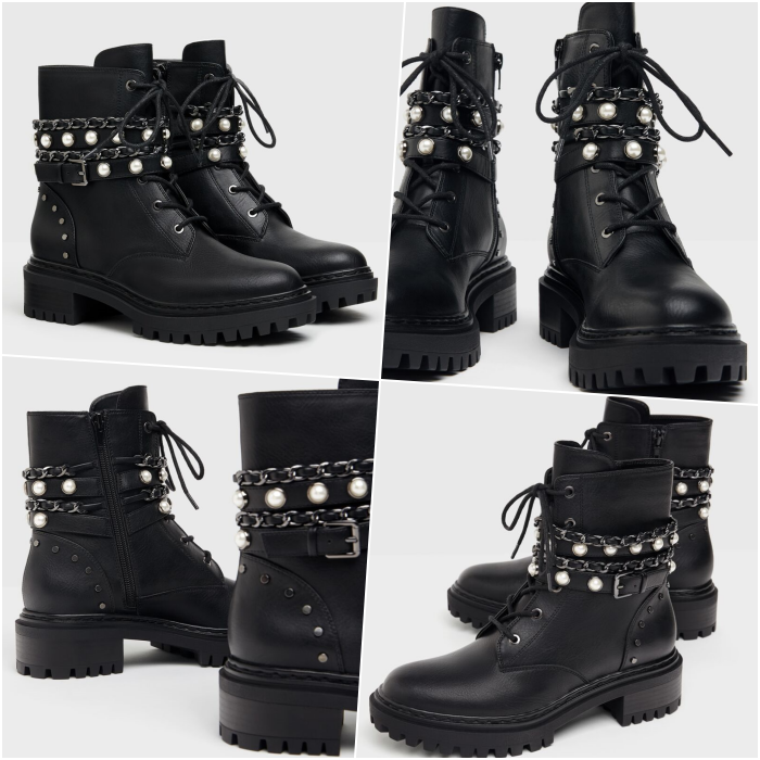 black chunky leather ankle boots with pearl straps and laces