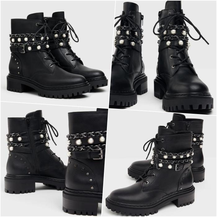 botines negros de cuero con suela gruesa y correas con perlas y agujetas