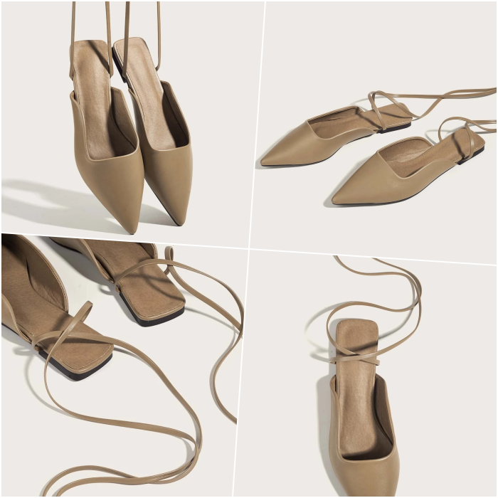 brown ballerina flats with long straps to adjust them