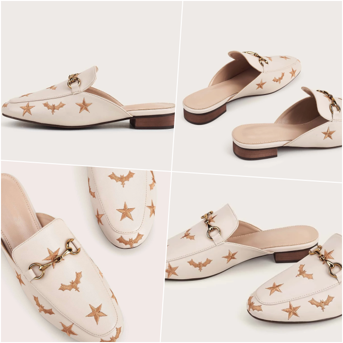 white flats with engraved gold stars on the vamp and chain detail