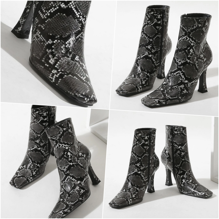 black and white snake animal print heeled ankle boots