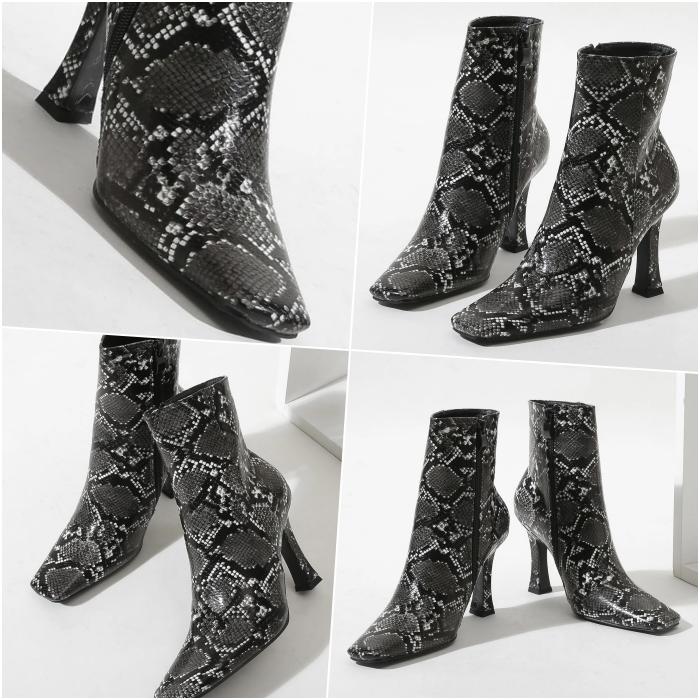 botines de tacón con estampado de animal print de serpiente en blanco y negro
