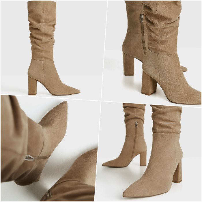 long beige suede heeled boots