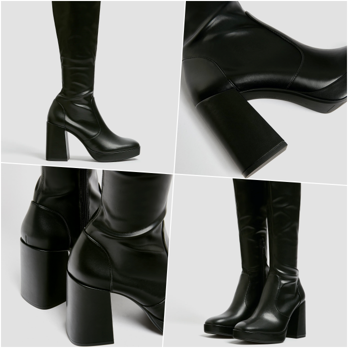 Black Leather Platform Chunky Heel Long Boots