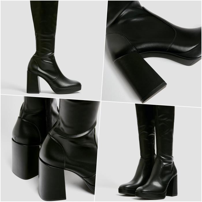 botas largas de cuero negro de plataforma con tacón grueso