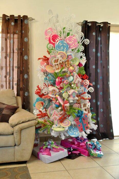 Pinito navideño decorado con temática de caramelos; ideas para decorar tu arbolito de Navidad