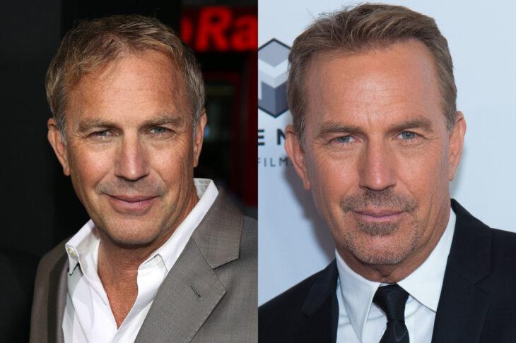 Kevin Costner antes y después del injerto de cabello