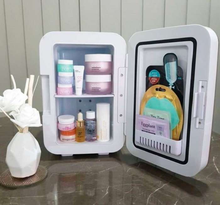 Organization of makeup and skin care in a mini fridge