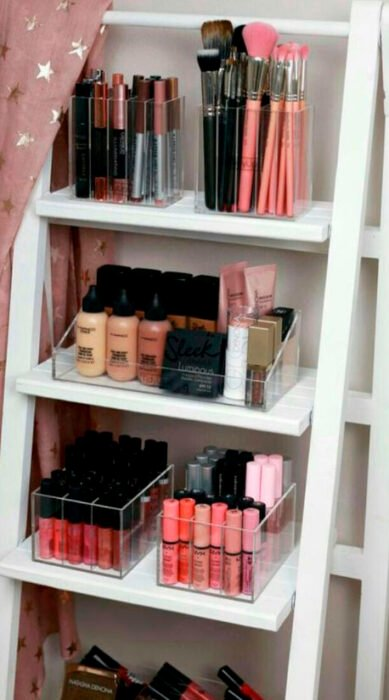 Organization of makeup and skin care on shelves