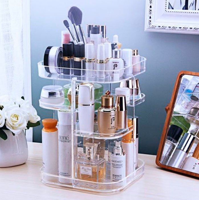 Organization of makeup and skin care in acrylic plastic with different levels