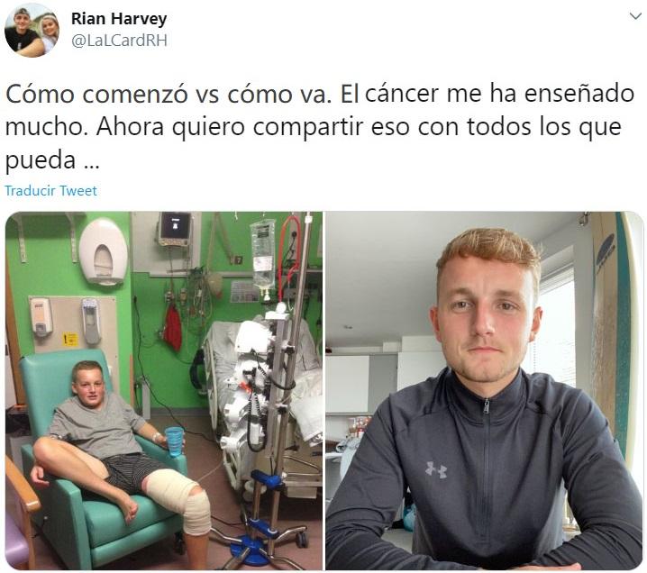"""Screen Shot de Twitter de hombre haciendo el reto """"Cómo empezó vs Cómo terminó"""" de su batalla del cáncer"""
