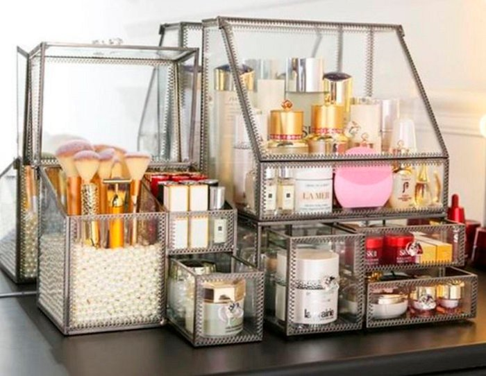 Organization of makeup and skin care in glass frame
