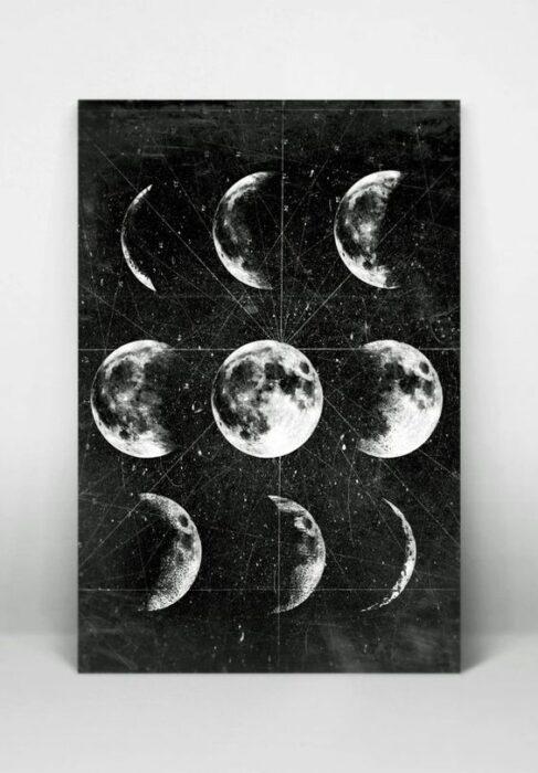 Cuadro con las fases lunares en color negro con blanco