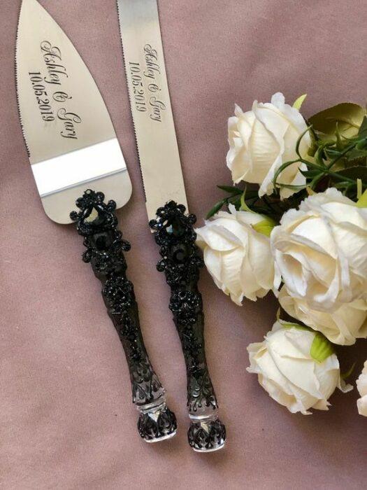 Cubiertos para brindis de boda en color negro