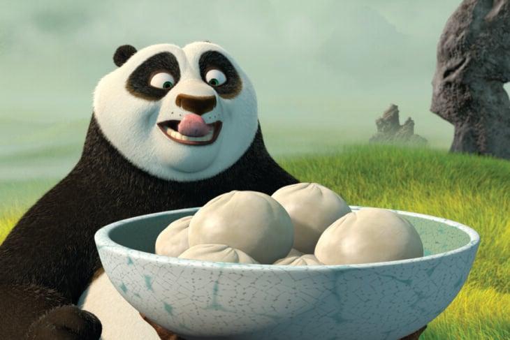 Escena de la película 'Kung Fu Panda' en donde Po está por comer Dumplings