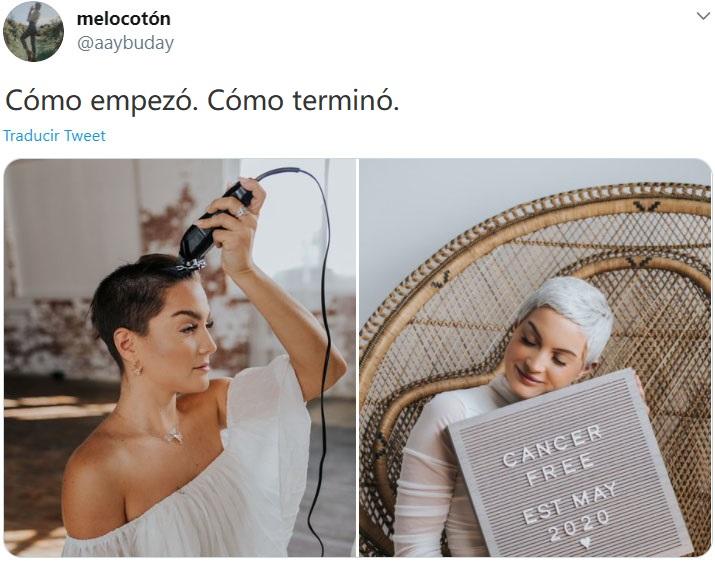 """Screen Shot de Twitter de mujer haciendo el reto """"Cómo empezó vs Cómo terminó"""" de su batalla del cáncer"""