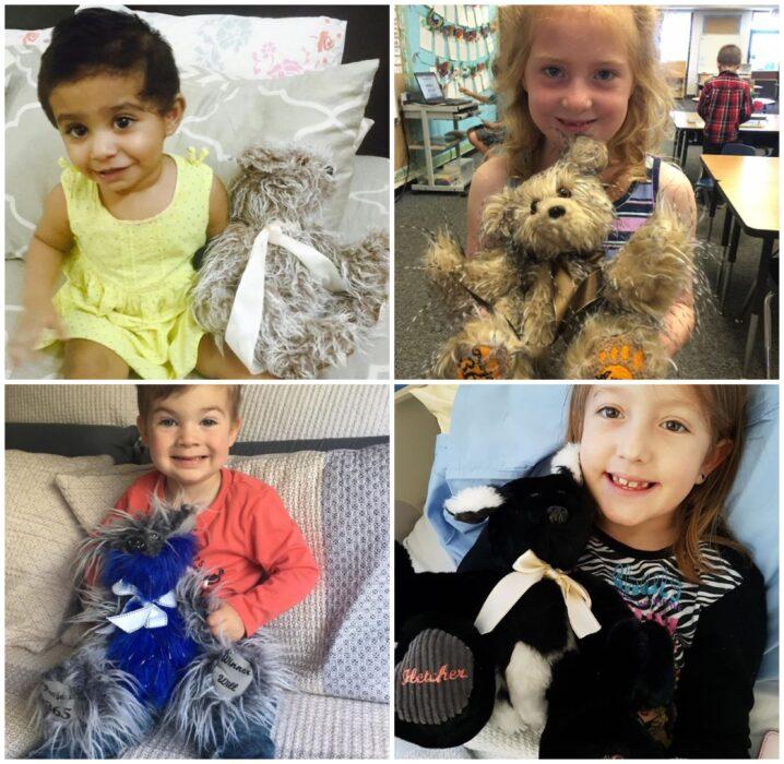 Niños en un hospital abrazando osos de peluche