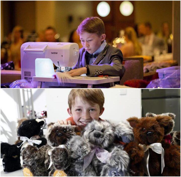 Campbell Remess cosiendo osos de peluche