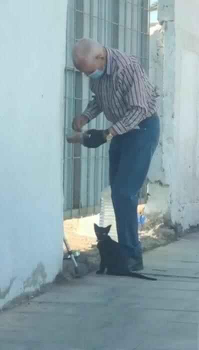 Abuelito alimenta a gatita callejera