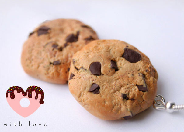 Small Chocolate Chip Cookie Earrings