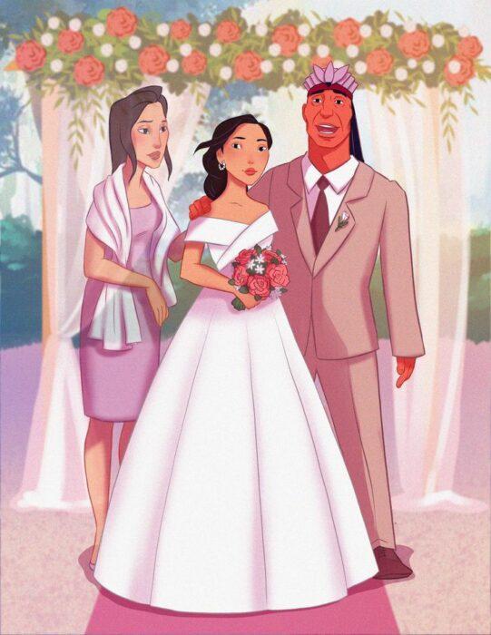 Pocahontas  en el altar con sus papás