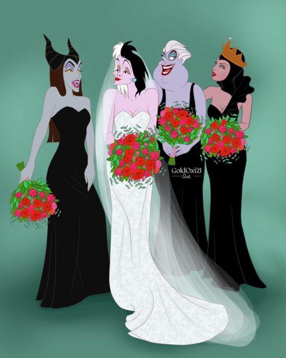 Cruella deVil con vestido de novia y villanas como damas de honor
