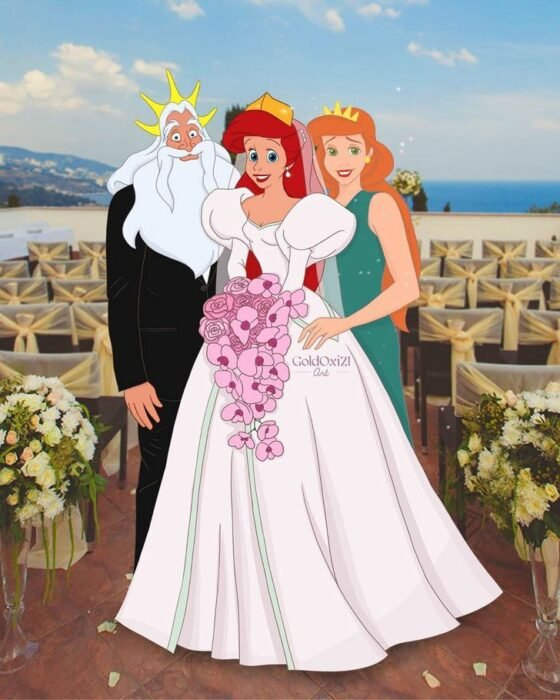 Ariel  en el altar con sus papás