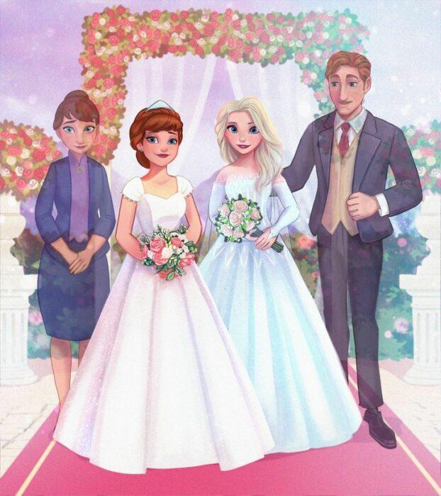 Elsa y Anna en el altar con sus papás