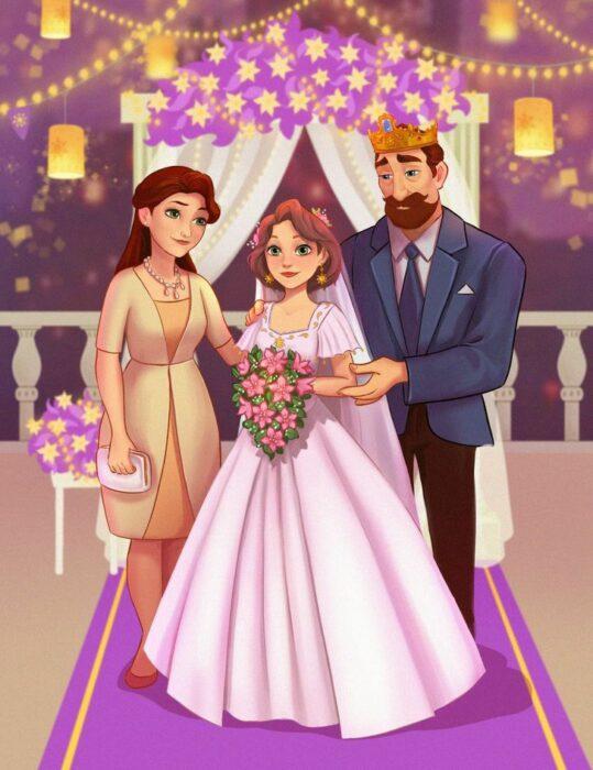 Anastasia en el altar con sus papás