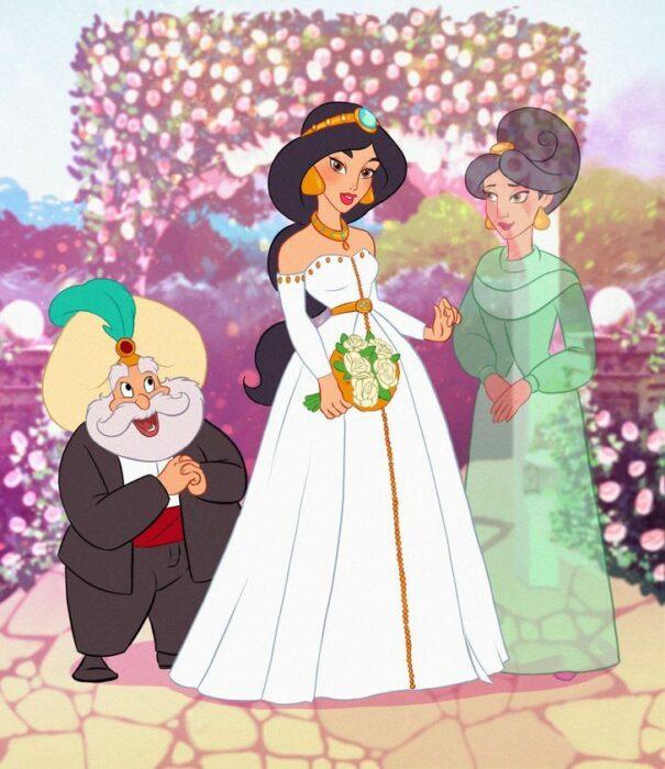 Jasmine en el altar con sus papás