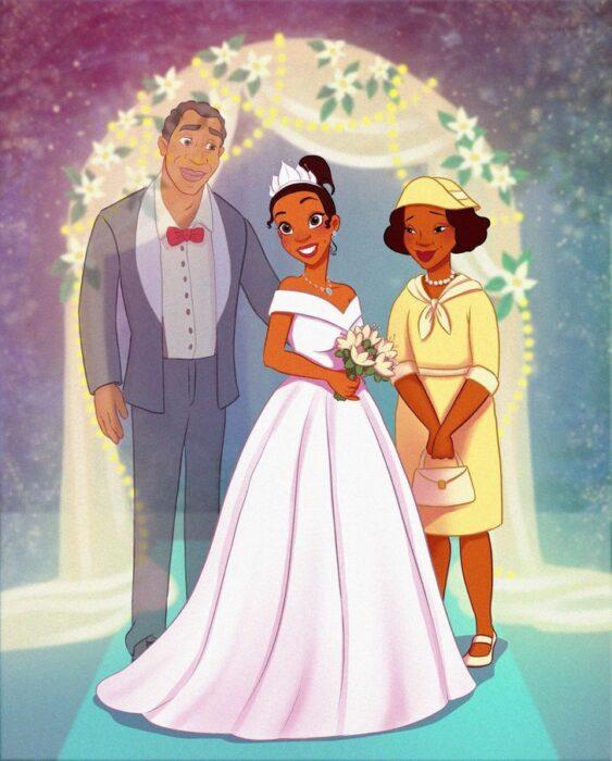 Tiana en el altar con sus papás
