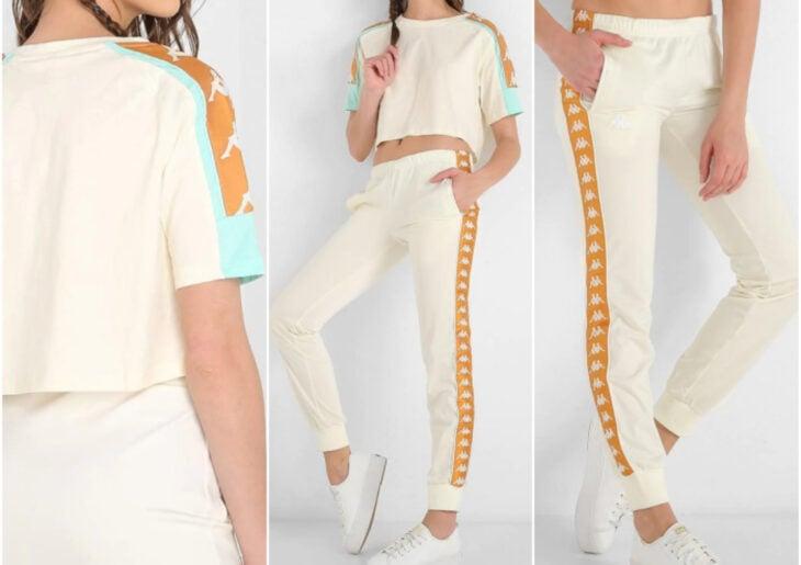 Atuendos deportivos casuales para usar en cualquier momento de Kappa, Liverpool; playera y pants blanco con anaranjado