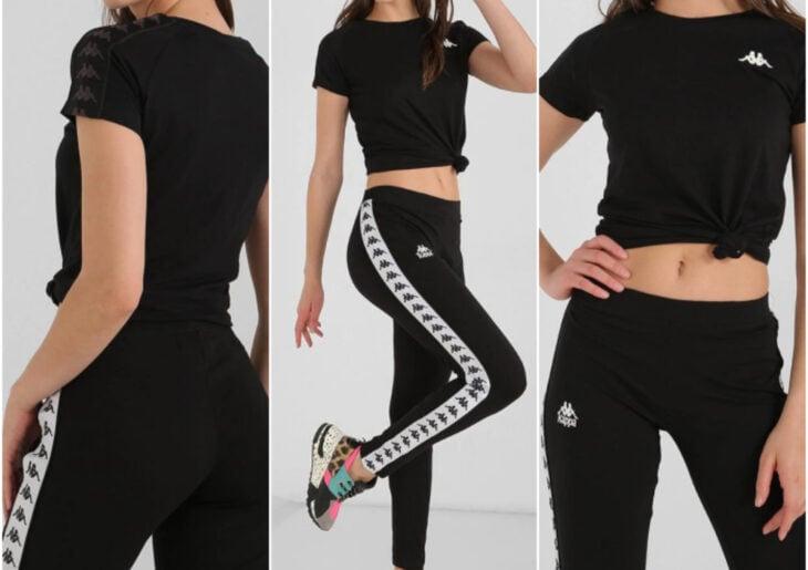 Atuendos deportivos casuales para usar en cualquier momento de Kappa, Liverpool; top y pants negro con blanco