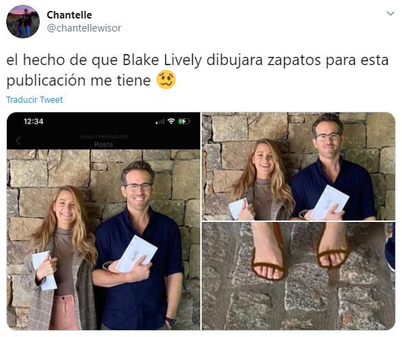 Tuit sobre Blake Lively pintando sus zapatos