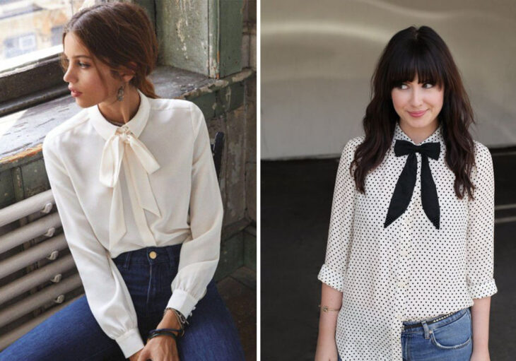 Left side: Girl wearing blouse with white bowtie and long sleeves with jeans. Right side: Girl wearing white blouse with three-quarter sleeve bowtie with black polka dots and jeans