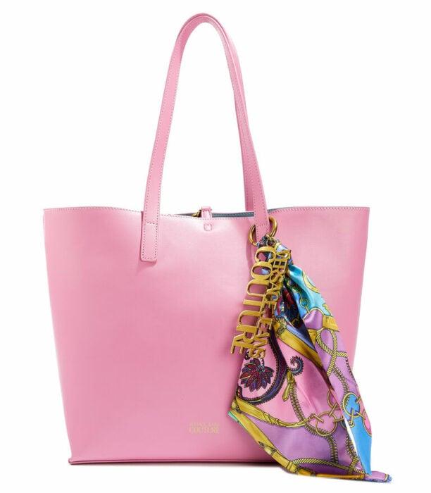 Bolso tote de color rosa hecho por Versace