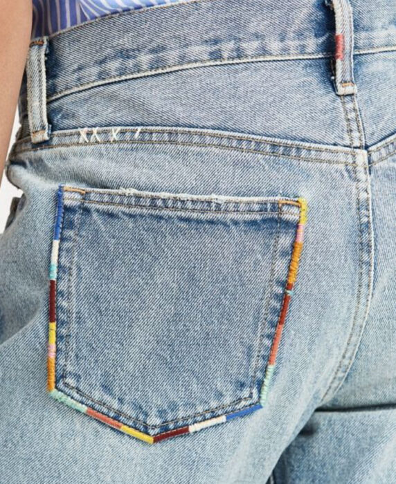 Embroidery on colored stripes jeans