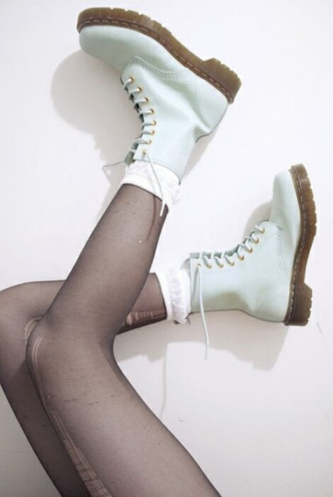Chunky boots in mint green color, and rubber sole