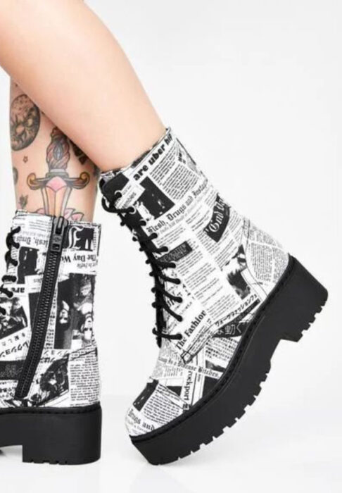 White chunky boots with newspaper print, with black platform