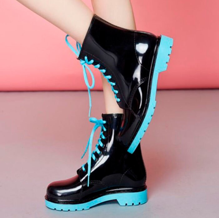 Black chunky boots, with sky blue sole and laces