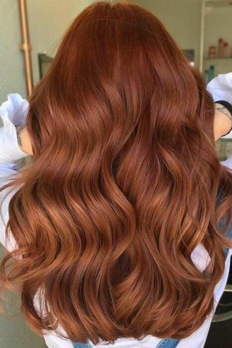 Chica con cabello largo mostrando su tiente en tono Brick Brown