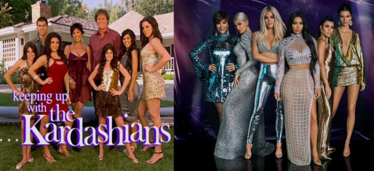 Familia Kardashian en el primer capitulo vs en la temporada 18 del show