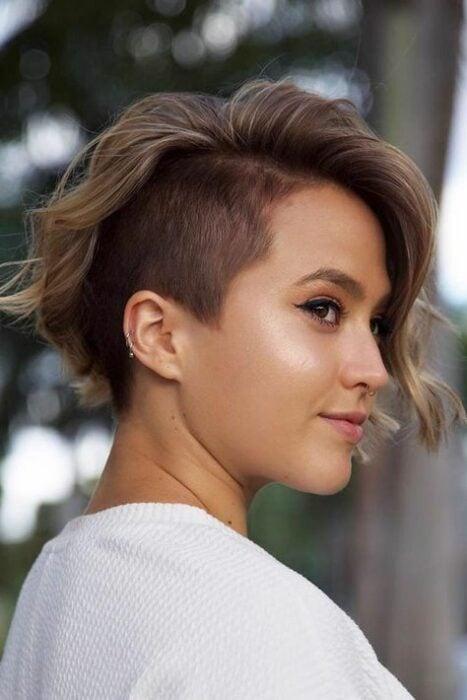 Short pixie hair girl with side shaving
