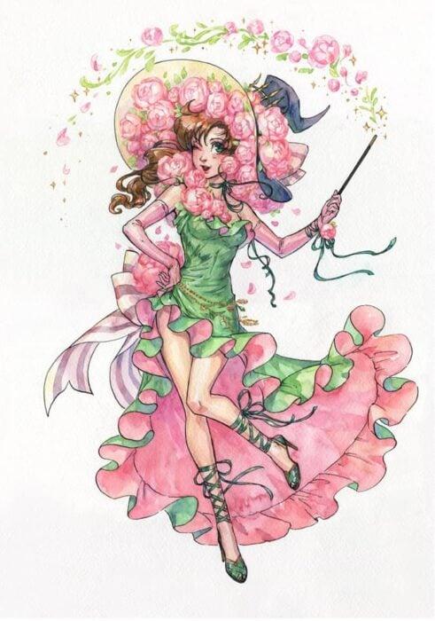Ilustración de Kutty Sark convirtiendo a Makoto Kino en bruja
