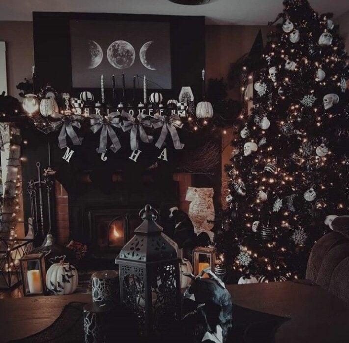 Decoración navideña en color negro con blanco