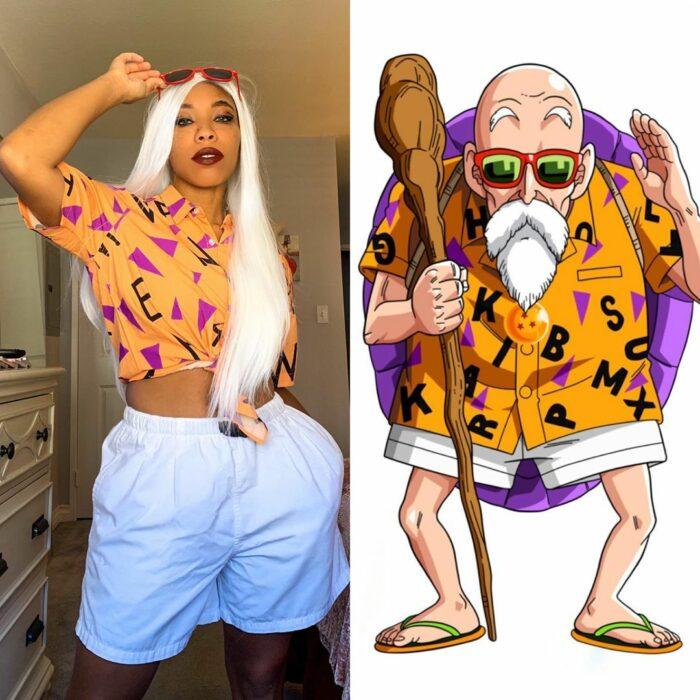 Chica disfrazada como el maestro Roshi de Dragon Ball