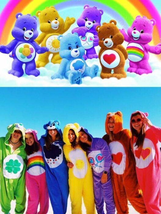 Grupo de amigas disfrazadas como Los Ositos Cariñositos